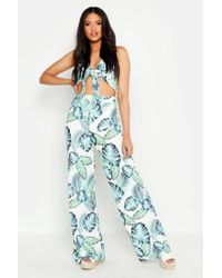 407feead9f17 Boohoo Palm All Over Sequin Wide Leg Trouser in Metallic - Lyst