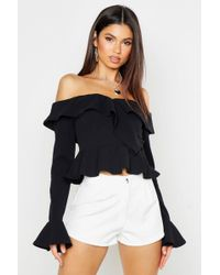 4f77bb1bb26 Boohoo Ruffle Sleeve Off The Shoulder Top in Black - Lyst