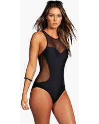 Boohoo - Mesh Racer Back Swimsuit - Lyst