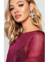 Boohoo - Rainbow Ornate Cross Earrings - Lyst