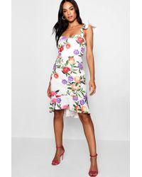 11797d849d148 Boohoo - Tall Jessica Ruffle Shoulder Midi Dress - Lyst