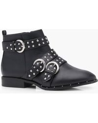 Boohoo - Alice Pin Stud Strap Ankle Boot - Lyst