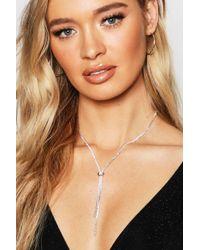 Boohoo - Statement Diamante Plunge Necklace - Lyst