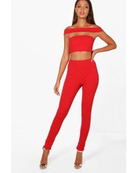 Boohoo - Tall Off The Shoulder Crop & Trouser Co-ord - Lyst