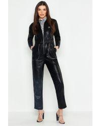 Boohoo - Leather Look Boiler Jumpsuit - Lyst