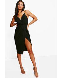 Boohoo - Strappy Wrap Detail Midi Dress - Lyst