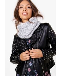 Boohoo - Nancy Fleece Lined Knitted Snood - Lyst