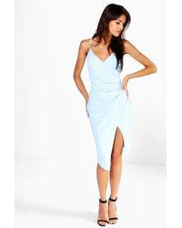 Boohoo - Strappy Wrap Pleated Bodycon Midi Dress - Lyst