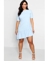 add81cfc1c Lyst - Boohoo Plus Ruffle Open Shoulder Dress in Blue