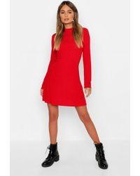 Boohoo - High Neck Long Sleeve Swing Dress - Lyst