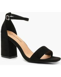 80c0f01959c9 Lyst - Boohoo Wide Fit Square Toe Two Part Heels in Black - Save 16%