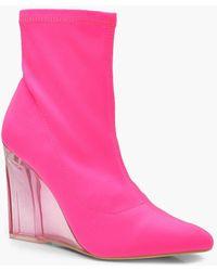 Boohoo - Bottes chaussettes à semelle compensée transparentes fluo - Lyst