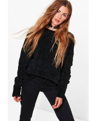 552609786b Boohoo Niamh Lace Up Sleeve Jumper in Black - Lyst