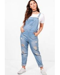 Boohoo - Plus Anna Ultra Ripped Light Wash Dungaree - Lyst