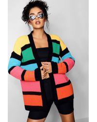 Boohoo - Rainbow Block Cardigan - Lyst