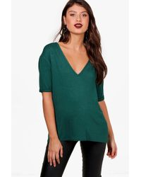 Boohoo - Oversized V Neck T-shirt - Lyst