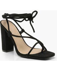 22974bf9e01 Boohoo - Wrap Strap Square Toe Block Heels - Lyst