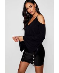Boohoo - Cold Shoulder Flare Cuff Top - Lyst