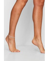 Boohoo - Anthea Diamante Layered Anklet - Lyst