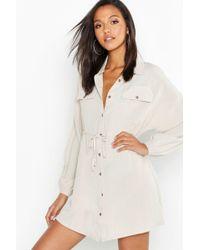 a133188294 Boohoo - Linen Look Horn Button Utility Shirt Dress - Lyst