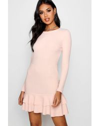 Boohoo - Ruffle Hem Long Sleeve Dress - Lyst