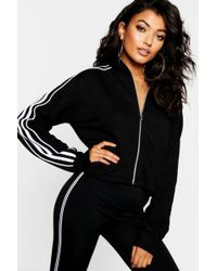 Boohoo - Cropped Zip Through Sweat - Lyst