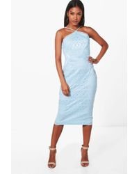 Boohoo - Strappy Lace Panelled Midi Bodycon Dress - Lyst
