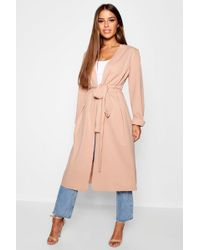 Boohoo - Petite Ruched Waterfall Duster Jacket - Lyst