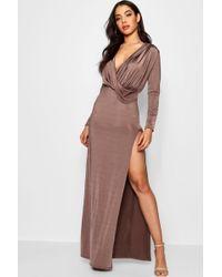 Boohoo - Slinky Plunge Drape Maxi Dress - Lyst