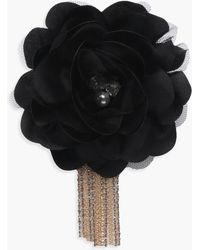 Boohoo - Kate Floral Embellished Diamante Chain Brooch - Lyst