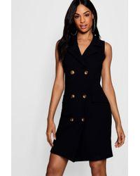 50212d13f15fe River Island Black Military Button Wrap Dress in Black - Lyst