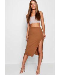 Boohoo - Petite Scallop Detail Slit Midi Skirt - Lyst