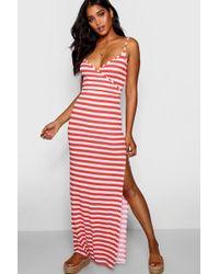 Boohoo - Stripe Wrap Front Maxi Dress - Lyst
