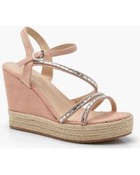 Boohoo - Katie Embellished Strappy Wedges - Lyst