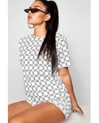 Boohoo - Oversized Repeat Print T-shirt - Lyst
