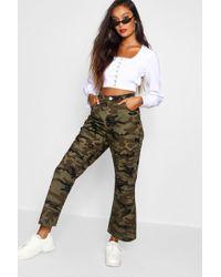 Boohoo - Camo Wide Leg Denim Jeans - Lyst