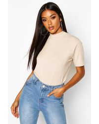 Boohoo Womens Basic Rib High Neck Boxy T-shirt - Beige - 10 - Natural