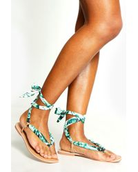 Boohoo - Palm Print Scarf Sandals - Lyst