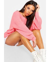 Boohoo - Slash Neck Sweater - Lyst