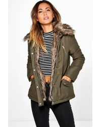 Boohoo | Holly Detachable Faux Fur Trim Parka | Lyst