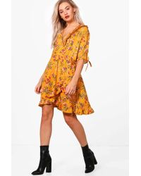 Boohoo | Fiona Floral Ruffle Detail Wrap Dress | Lyst