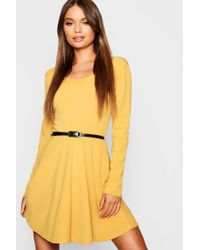 95b1973657 Lyst - Boohoo Square Neck 3 4 Puff Sleeve Skater Dress in Red
