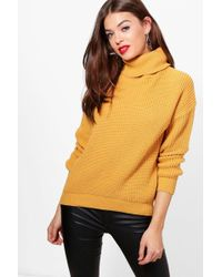Boohoo - Isabel Fisherman Roll Neck Jumper - Lyst