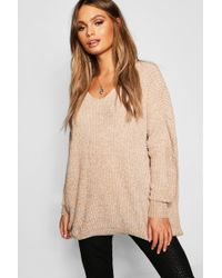 Boohoo - Oversized Slouchy V-neck Chenille Jumper - Lyst
