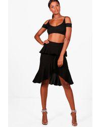 Boohoo - Harriet Ruffle Front Woven Midi Skirt - Lyst