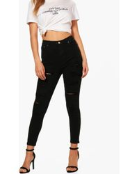 Boohoo - High Rise Heavy Ripped Skinny Jeans - Lyst