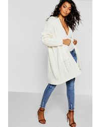 Boohoo - Slouchy Cable Knit Cardigan - Lyst
