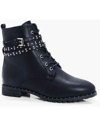 Boohoo - Alice Pin Stud Hiker Boot - Lyst