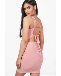 Boohoo - Violet Crepe Strappy Back Detail Bodycon Dress - Lyst