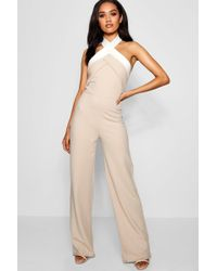 02c3fff8d2 Lyst - Boohoo Beth Colour Block Tie Back Strappy Playsuit in Black